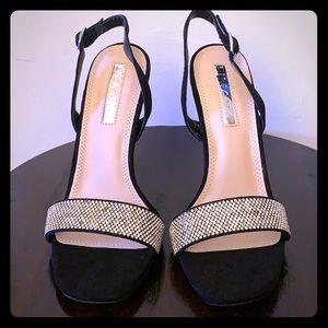 Fashion Nova Black Faux Suede Jeweled Slingbacks